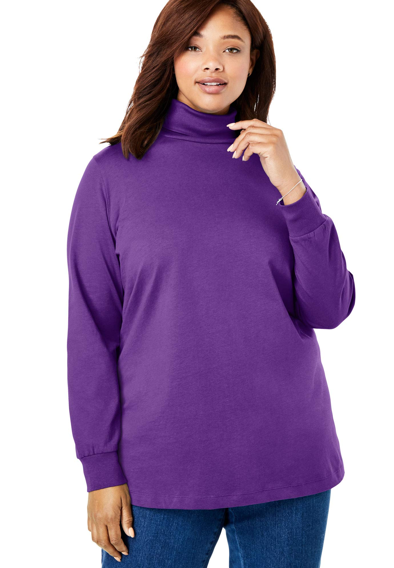 Woman Within Women's Plus Size Perfect Long Sleeve Turtleneck - Radiant Purple, L by Woman Within