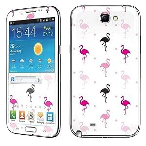 Samsung [Galaxy Note 2] Phone Skin - [SkinGuardz] Full Body Scratch Proof Vinyl Decal Sticker with [WallPaper] - [White Flamingo] for Samsung Galaxy [Note 2]