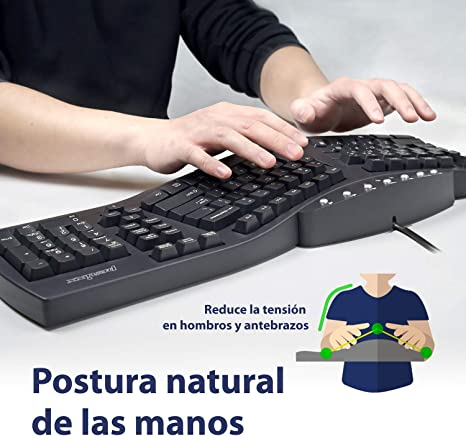 Perixx PERIBOARD-512 USB Teclado Ergonomico, 485x236x44 mm, Negro, Layout Español