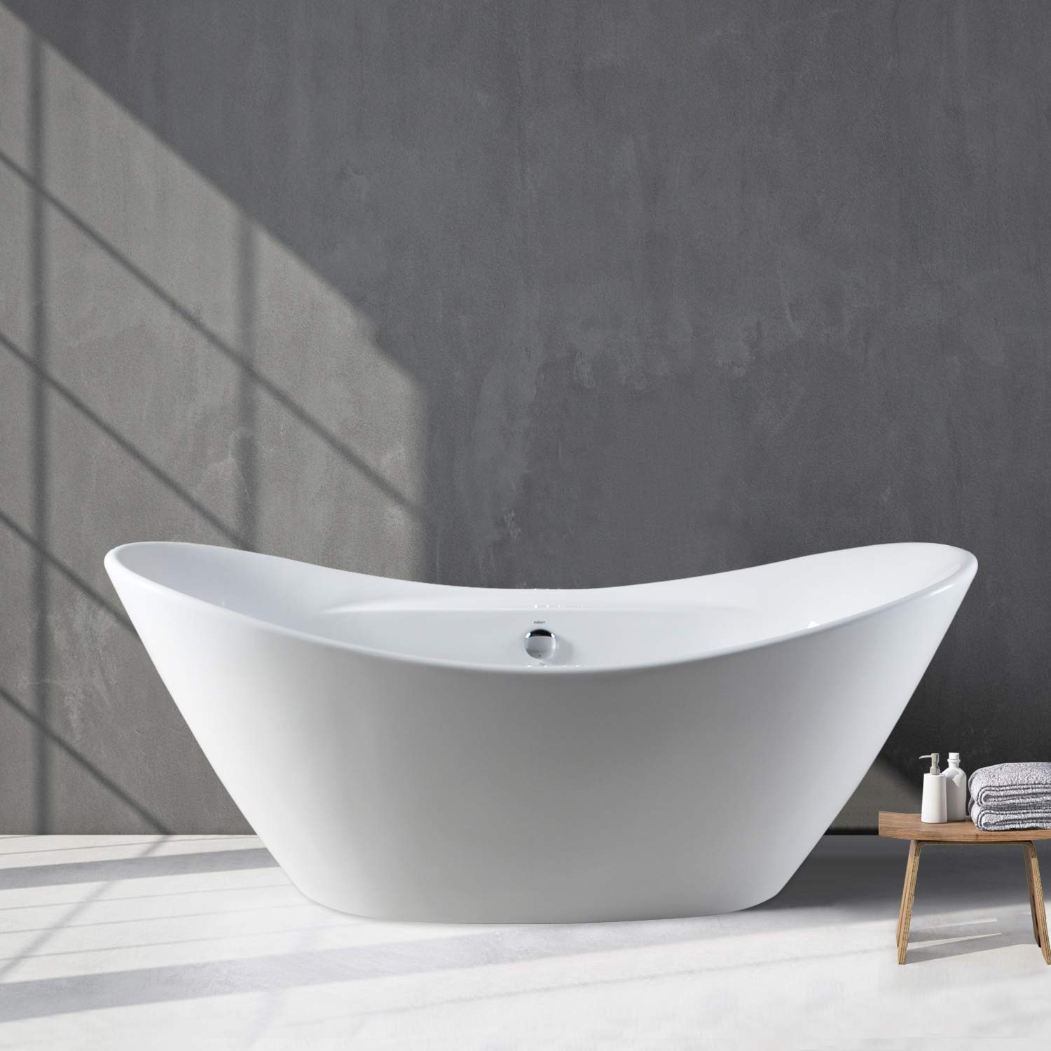 FerdY 67 Curve Edge Freestanding Soaking Bathtub, Glossy White, cUPC Certified, Drain Overflow Assembly Included