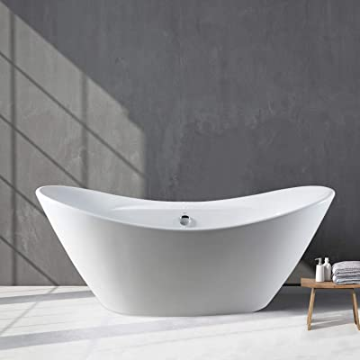 """FerdY 67"""" Curve Edge Freestanding Soaking Bathtub, Glossy White, cUPC Certified, Drain & Overflow Assembly Included"""