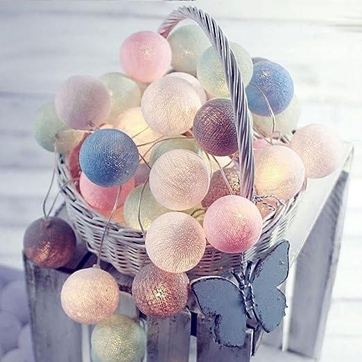 Guirnalda de Luces 3M 20 Bolas de Algodón Blancas de LED Cadena de Luces LED Luces de Cuerda Adaptador de Batería Rosa Blanco Gris [Clase de eficiencia energética A+]: Amazon.es: Iluminación