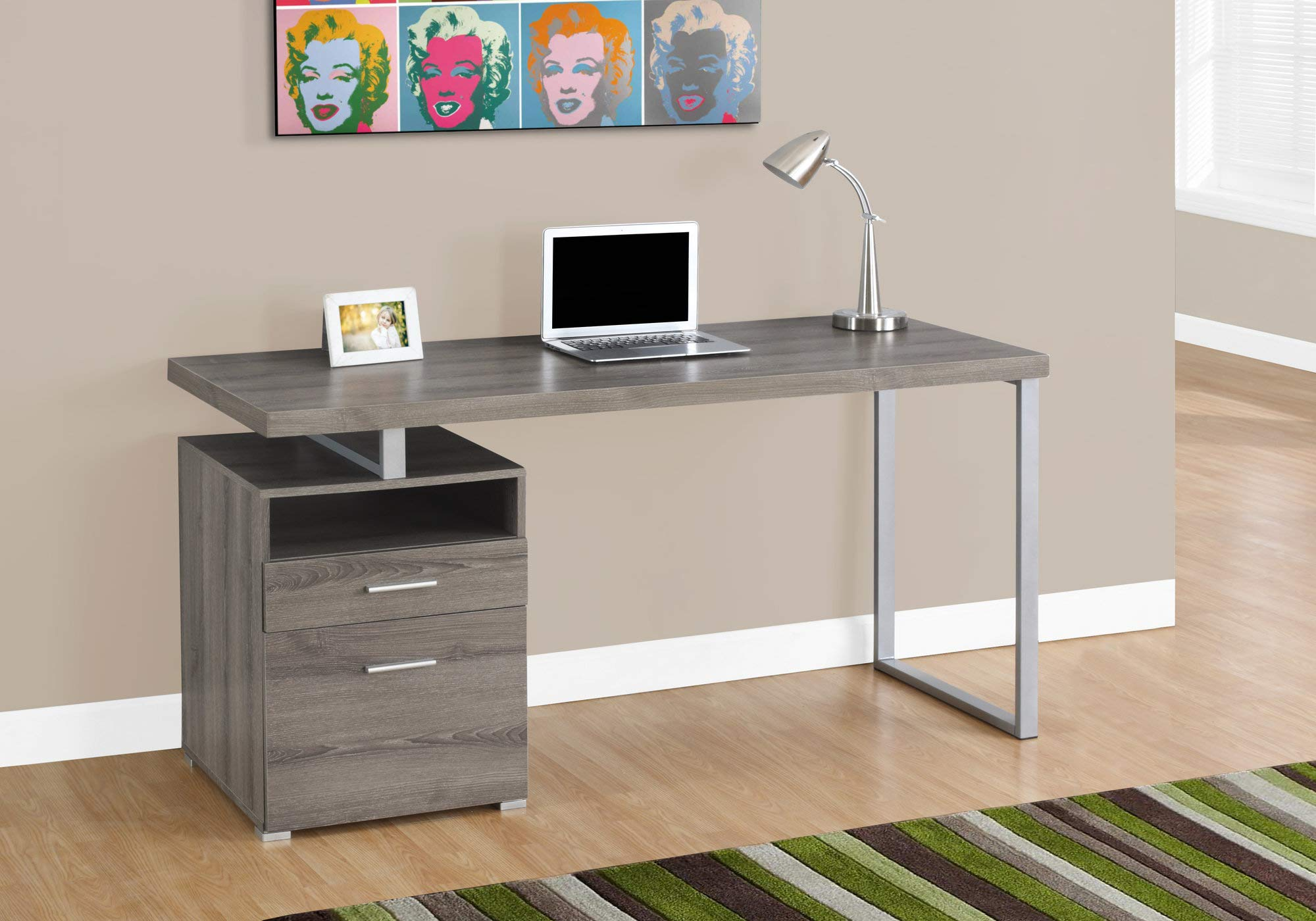 Monarch Specialties I I 7145 Laptop Table with Drawer Open Shelf and File Cabinet-Left or Right Set Up Computer, Writing Desk for Home & Office, 60'' L, Dark Taupe by Monarch Specialties