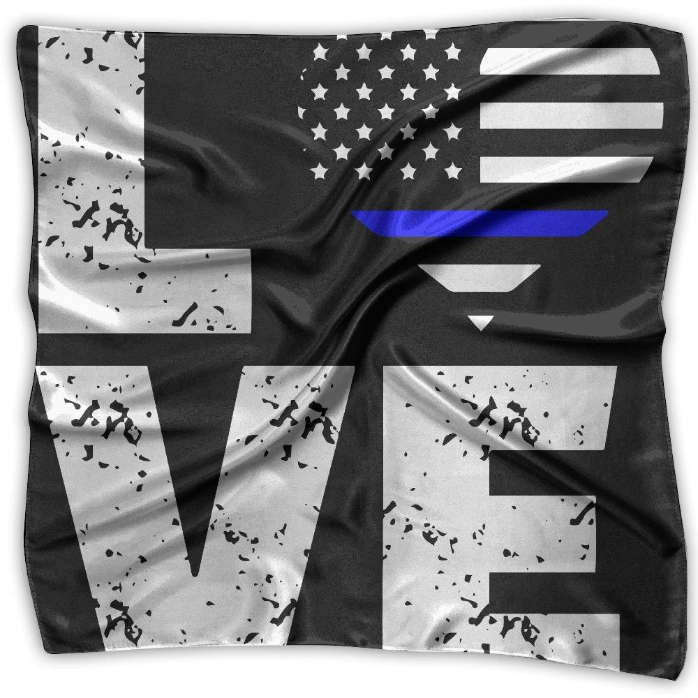 Love Thin Blue Line Usa Flag Unisex Silky Scarf Neck Wraps Bandana Scarves Set