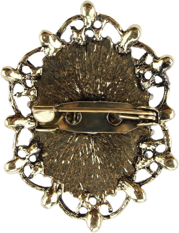 Crystal Rhinestones Ornamented Vintage Style Victorian Cameo Brooch Pins
