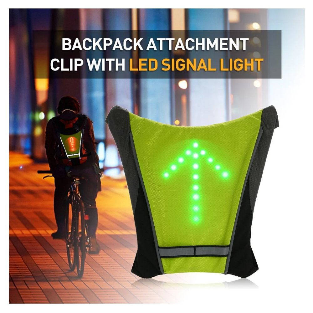 FANCYWING LED Turn Signal Bike Pack Accessory LED Backpack Widget with Direction Indicator – USB Rechargeable Bag Safety Light for Cycling at Night, Waterproof, Safe Bicycle