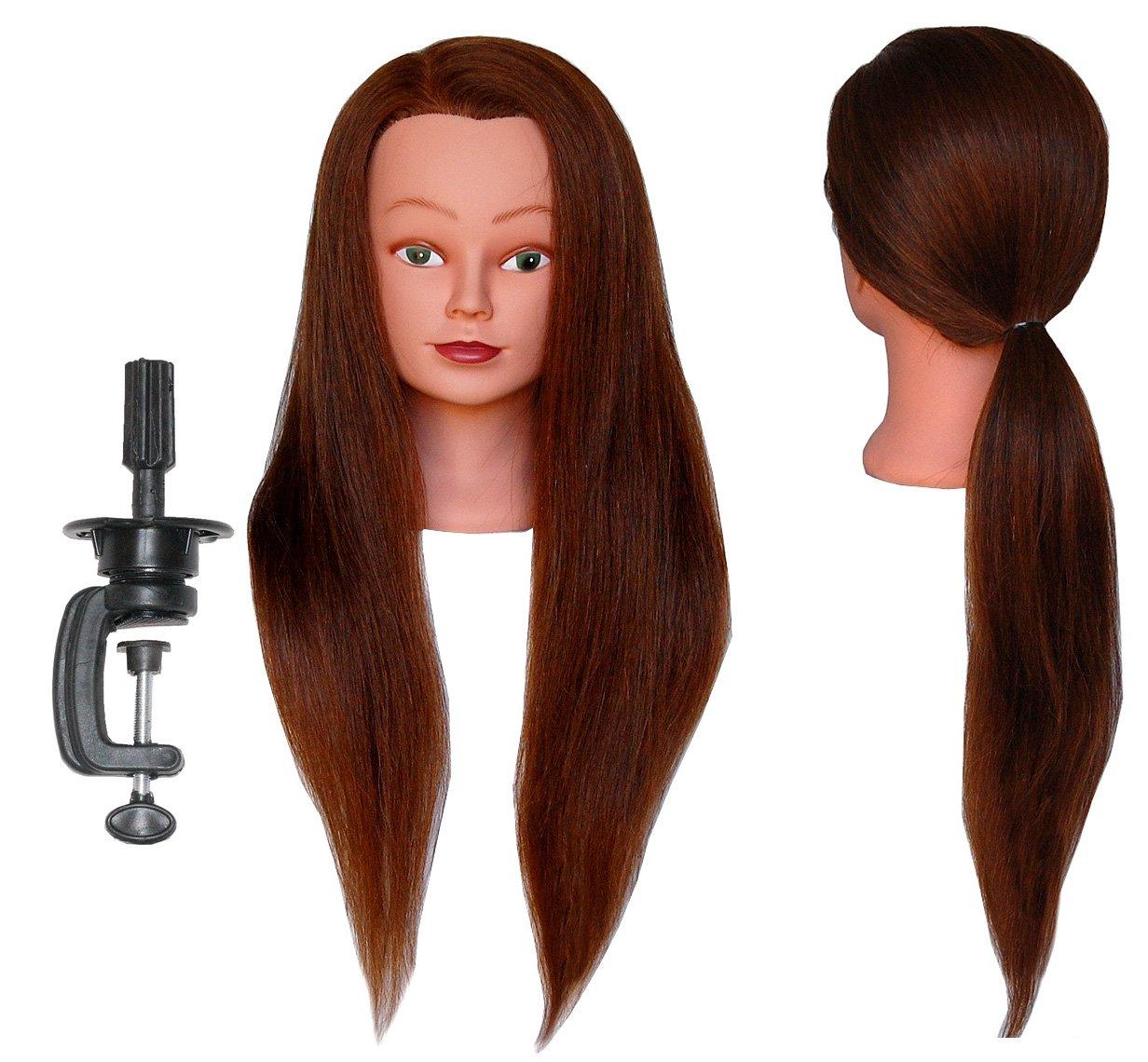 (SUPER LONG) HairZtar 100% Human Hair 26 - 28'' Mannequin Head Hairdresser Training Head Manikin Cosmetology Doll Head (LUCY+CLAMP)
