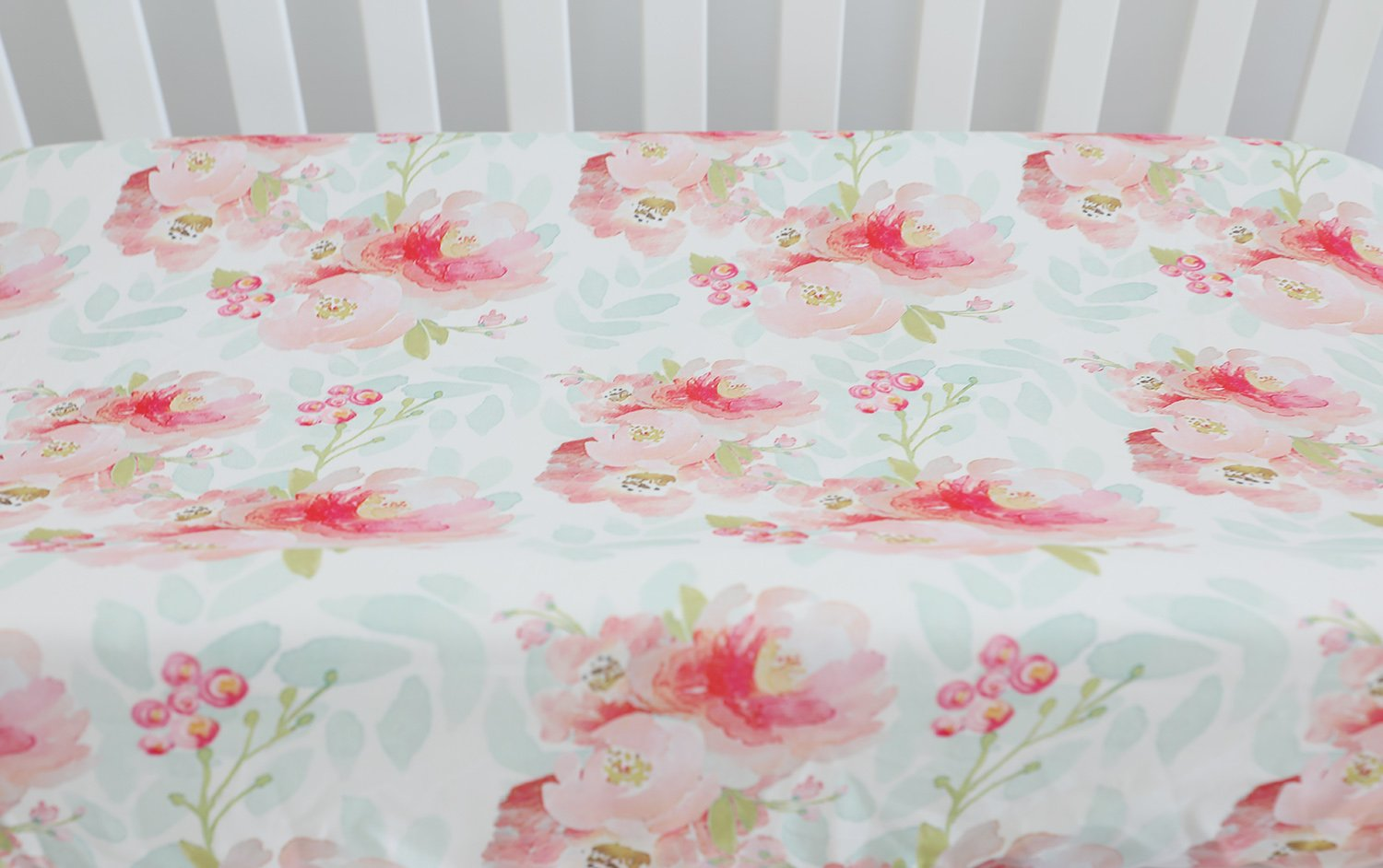 Sahaler Baby Girl Crib Bedding Changing Pad Cover (Pink Mint Floral)
