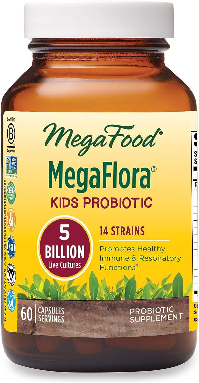 MegaFood, Kids N' Us MegaFlora, Probiotic Supplement for Children with 5 Billion CFU, 60 Capsules