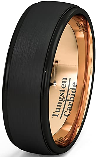 Mens Wedding Band Two Tone Black Rose Gold Tungsten Ring Brushed Center Step Edge 8mm Comfort