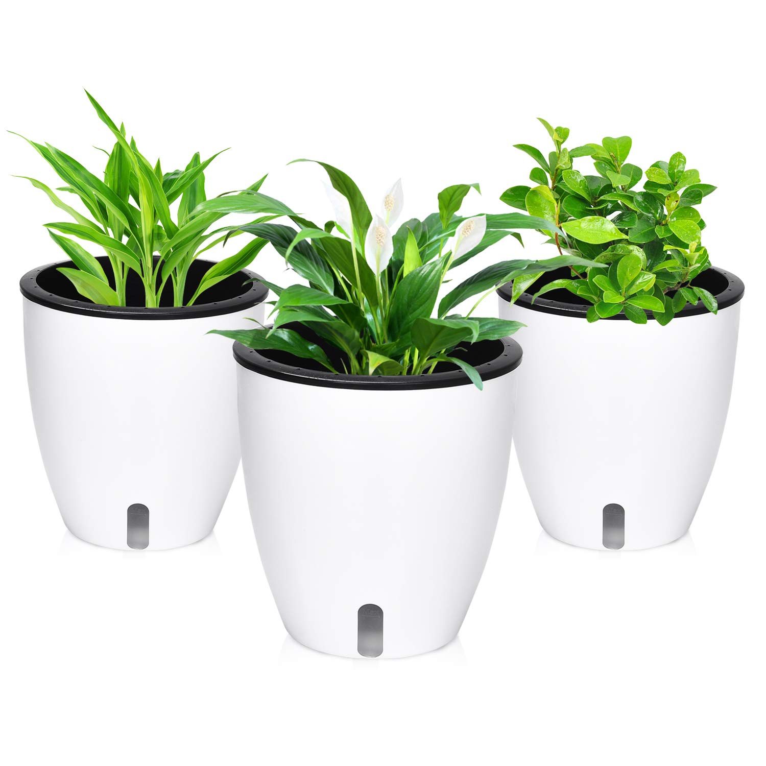 225 & Self Watering Planter Plastic Self Watering Flower Pots for African Violet White Planter Pot with Cotton Rope for Indoor Plants Set of 3 7.2\