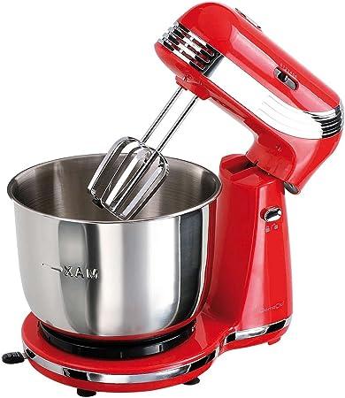 Robot de cocina con cuenco de acero inoxidable 3 l – Amasadora amasadora (250 W, 6 niveles, varillas, ganchos para amasar, botón de expulsión, Rojo): Amazon.es: Hogar