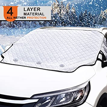 Amdrfo Car Windshield Snow Cover Frost Guard Winter Windshield Snow Ice Cover Magnetic Edges Car Snow Windshield Protector for Most Cars All Weather