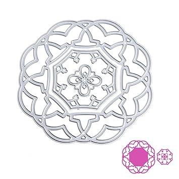 Bottone DIY Metal plantillas de corte plantilla para molde para DIY álbum de recortes, diseño de tarjeta de papel Craft Decoración (flor): Amazon.es: ...
