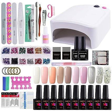 Coscelia Nail Dryer Secador de Uñas UV/LED Lámpara 10 PCS Esmalte Semipermanente Gel Uñas