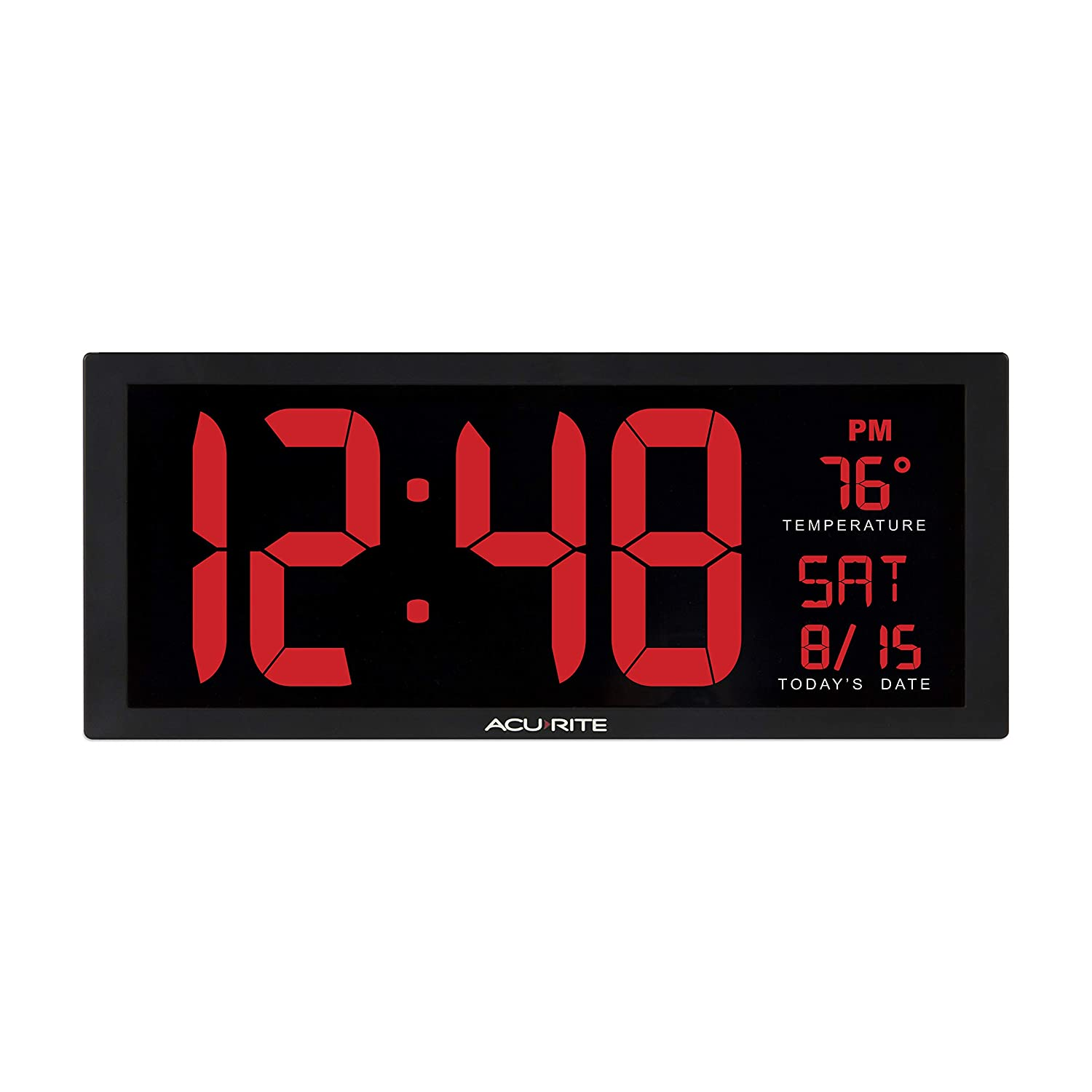 """AcuRite 75127 Oversized LED Clock with Indoor Temperature, Date and Fold-Out Stand, 14.5"""""""