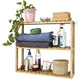 SoBuy® Estantería de pared, estantería de baño, librería, estantería de cocina de bambú, FRG28-B-N, colore: natural