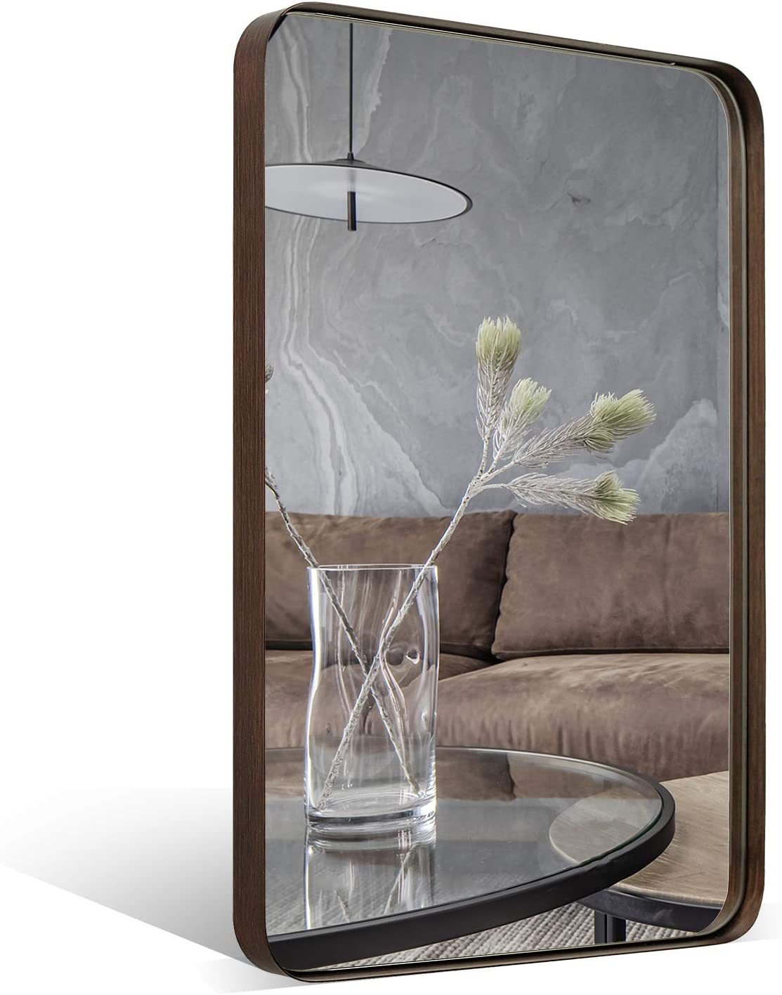 ANDY STAR Wall Mirror Brushed Bronze | 22x30'' Contemporary Rectangular Stainless Steel Metal Frame Rounded Corner 1'' Deep Set Design for Bathroom