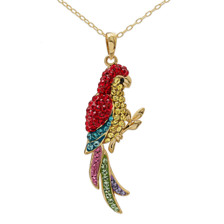 Crystalogy Sterling Silver Swarovski Crystal Parrot Animal Pendant Necklace for Women, 18''