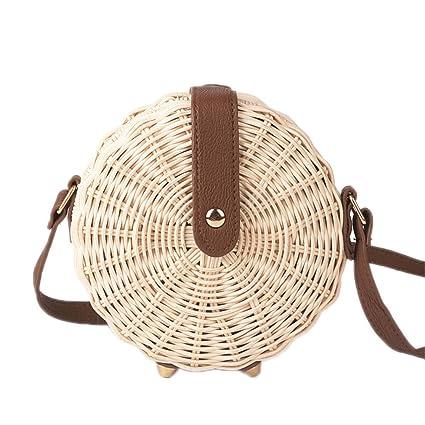 0fb4769c0eb1 Amazon.com: Ddreamon Women Straw Bag Bohemian Rattan Beach Handbag ...