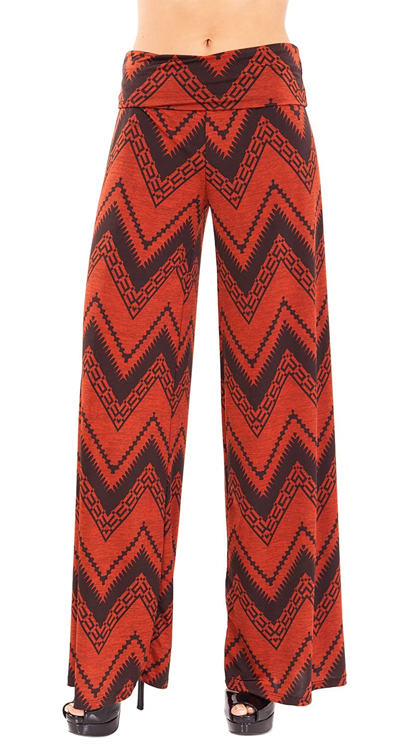 Wave Printed Women Fold-over Waistband Long Culottes, Multiple Colors Avail
