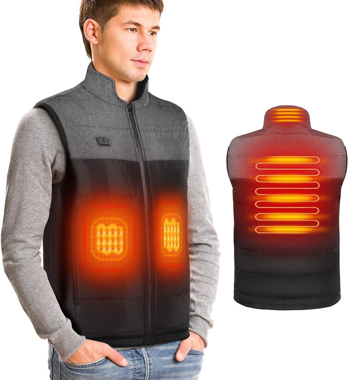 DOACT Chaleco calefactable para Hombre Chalecos calefactores eléctricos con Carga USB, calefacción Independiente para Espalda y Abdomen, Chaqueta con Cuello Alto Chaleco Chaleco Informal Abrigos