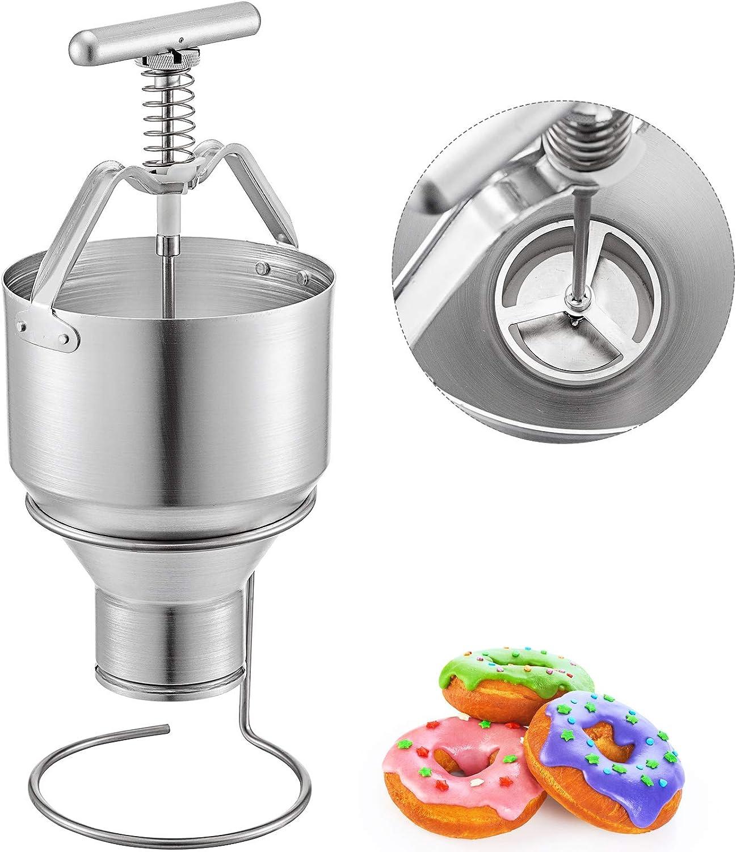 VBENLEM Manual Donut Depositor 5L, Dropper Plunger Dough, 6 Adjustable Thicknesses Batter Dispenser Hopper with stand, Food-Grade Aluminum, for Home & Commercial Use