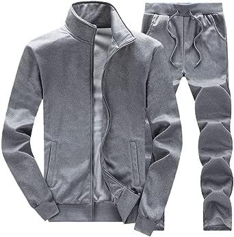 Tefamore_Hombre Invierno Manga Larga Chandal Cremallera Chaqueta Pantalones Dos Piezas Casual Conjuntos Deportivos(Gris, XL): Amazon.es: Ropa y accesorios