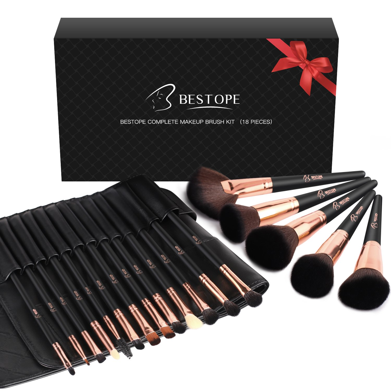 BESTOPE Makeup Brushes 18 PCs Makeup Brush Set Premium Synthetic Foundation Powder Kabuki Brushes Concealers Eye Shadows Make Up Brushes Kit Ltd.