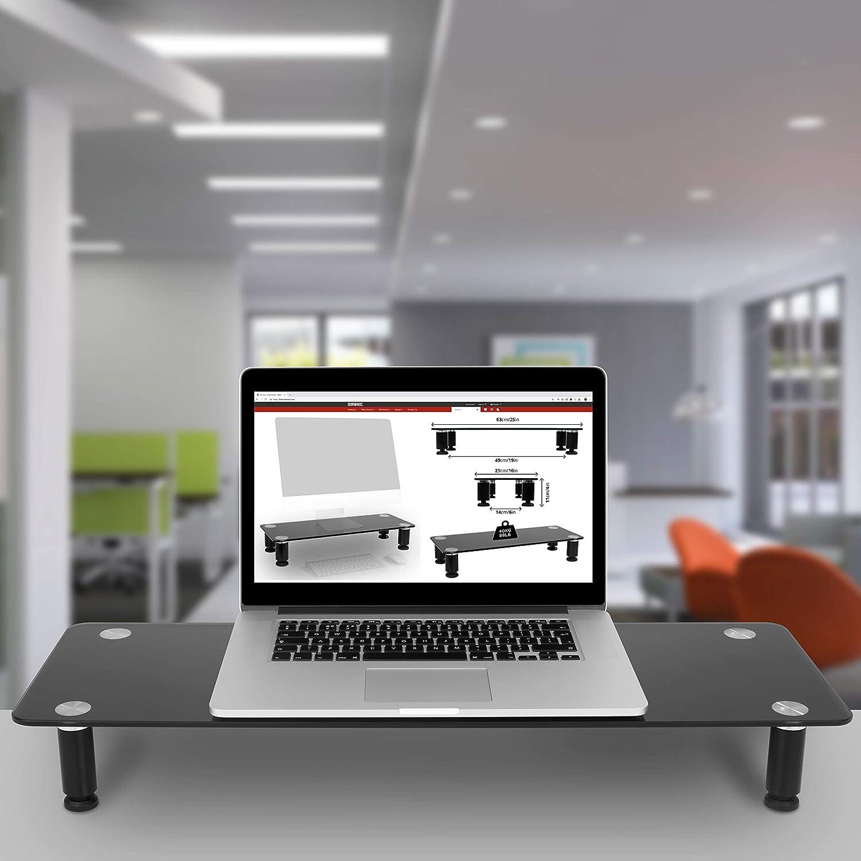 Duronic DM052-4 Soporte Monitor Ajustable, Elevador para Pantalla, Ordenador Portátil, Televisor, Medidas 70x24 cm, Cristal Negro, Soporta hasta 40 kg: ...