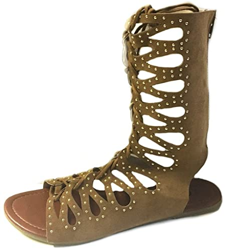 Womens Shoes8teen Women's Studded Flat Knee High Gladiator Sandals Outlet Online Sale Size 37