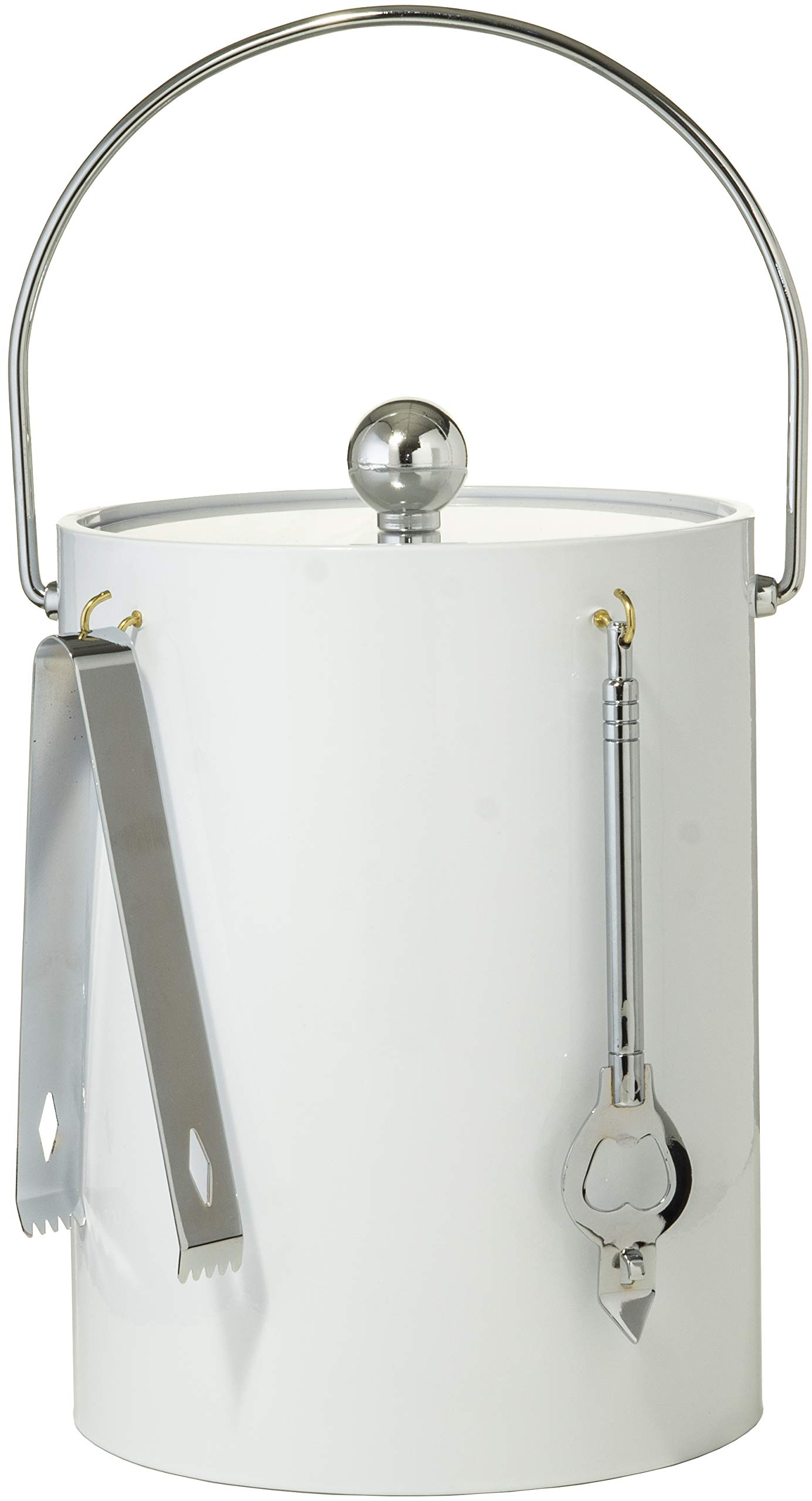 Hand Made In USA White Double Walled 5-Quart Insulated Ice Bucket With Ice Tongs & Bottle Opener by Mr. Ice Bucket By Stephanie Imports