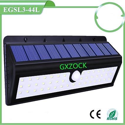 GXZOCK 44 LED exterior inalámbrico energía solar con sensor de movimiento luz estanques de iluminación de