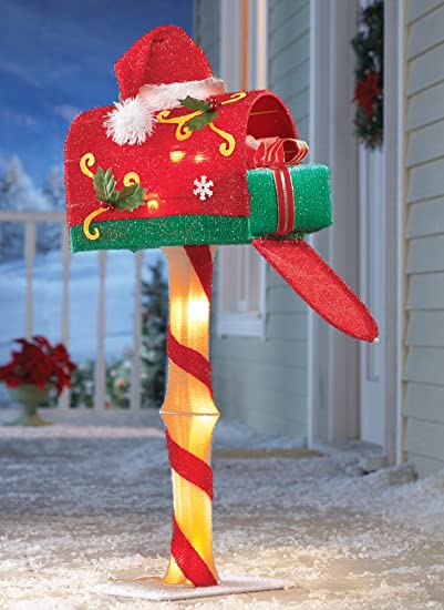 whimsical lighted candy cane north pole mailbox santa hat yard outdoor christmas holiday decor