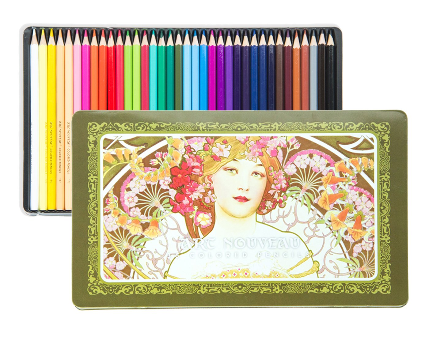 BEGOO Premium 36-Color Set Multicolored Wooden Colored Pencils Soft Core with Cute Metal Tin Case, Vibrant Colors Oily Pencils for Office Schools Art Sketching Coloring Book Drawing Tools Kids Adults