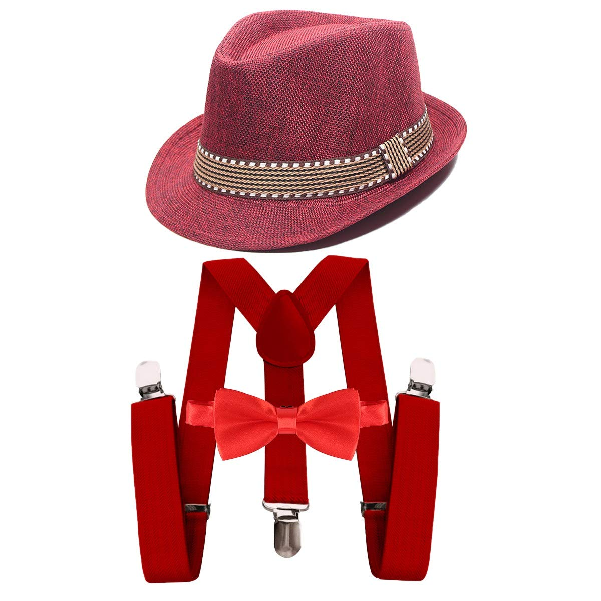 MYRISAM Kids 1920s Themed Party Costume Accessories Set Fedora Gangster Hat Adjustable Suspenders Bow Tie 3pcs Outfit 2-15T