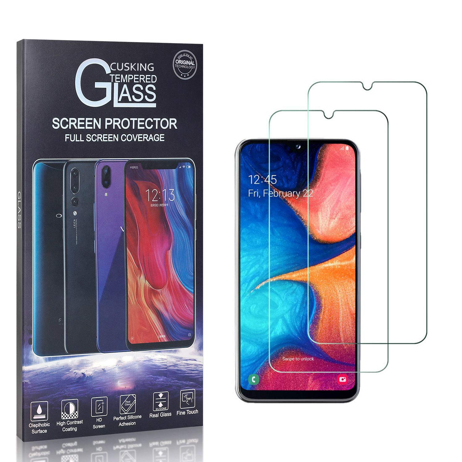 2 Pack CUSKING 9H Hardness Tempered Glass Screen Protector for Samsung Galaxy A20E Screen Protector for Galaxy A20E Bubble Free High Transparency