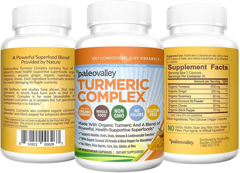 Paleovalley - Organic Turmeric Complex (60-Count) - 30-Day Supply - 1,000 Mg of Turmeric Per Serving - Superfood Supplement - Formulated to Provide Inflammation Support