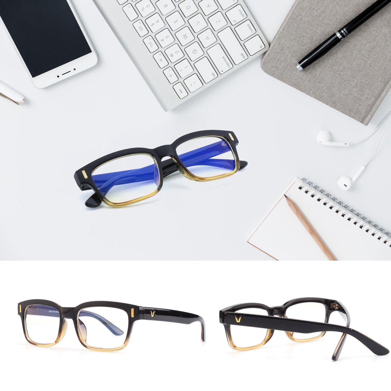 CGID CT84 Gafas para Protección contra Luz Azul, para Computadora, Lectura, Video Juegos, Protección de Fatiga Visual y contra Rayos UV,Rectángulo Vintage, ...