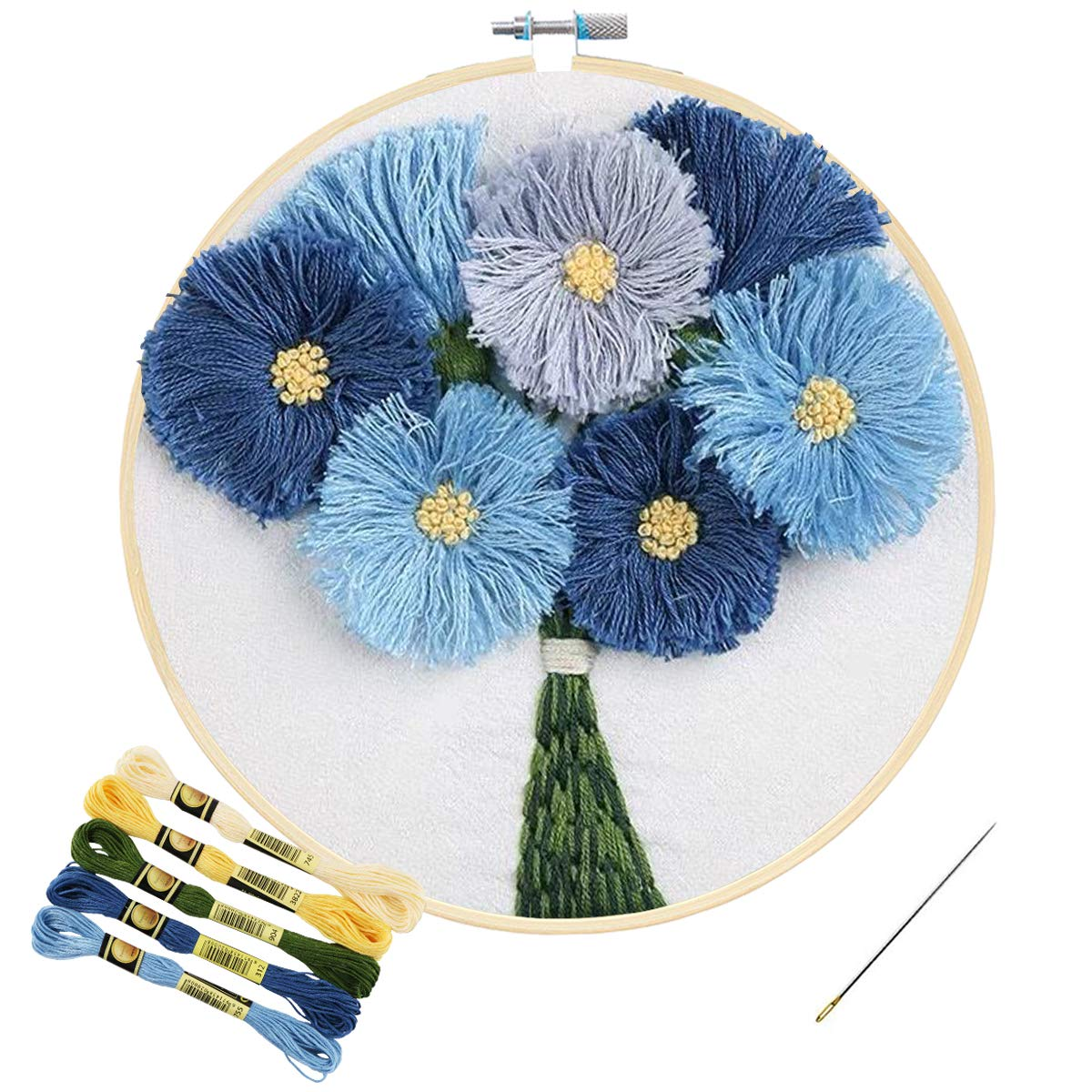 Kissbuty Cross Stitch Kit Including Clear Organza Stamped Embroidery Cloth with Pattern,Plastic Embroidery Hoop,Color Threads and Tools Dandelion Full Range of Embroidery Starter Kit with Pattern