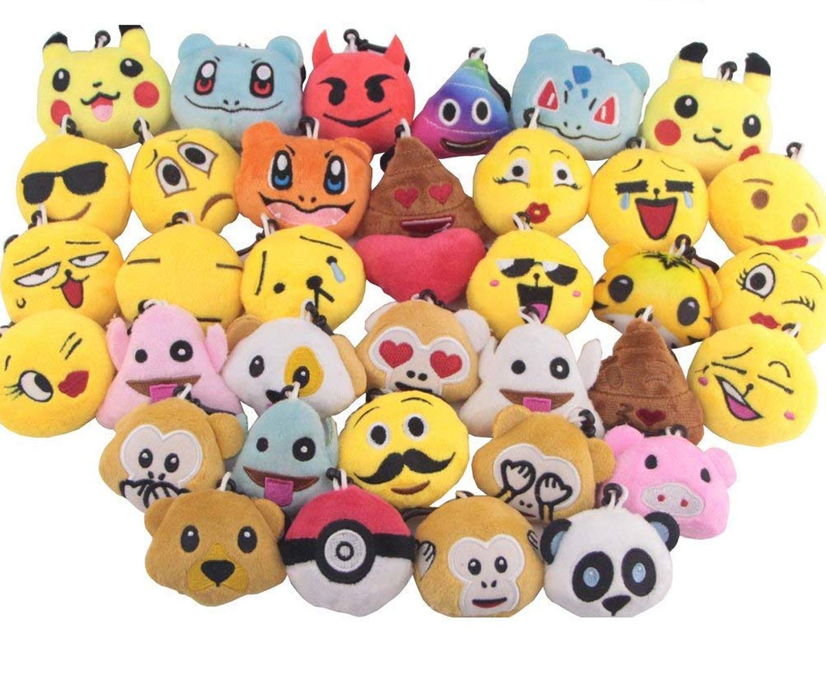 Swity Home 36 Pack Mini Emoji Plush Toy, Emoticon Toy, Mini Keychain Decorations, For Party Decoration, Party Supplies Favors, Set of 36