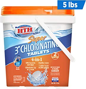 HTH 42033 Super 3-inch Chlorinating Tablets for Swimming Pools, 5 lbs