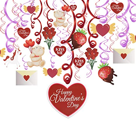 Konsait saint valentin decoration st valentin Hanging Swirls guirlande à  suspendre tourbillons Coeur rouges et rose