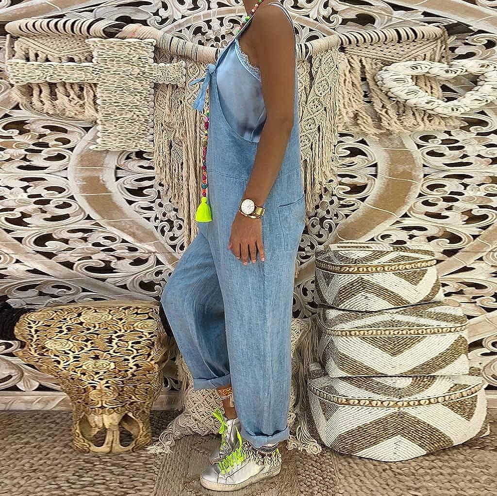 XXYsm Salopette Femme Large Femme Taille Haute en Vrac Grande Taille Cow-Boy Salopette Bretelles R/églables sans Manches Occasionnels Rompers L/âche Large Harem Combinaison
