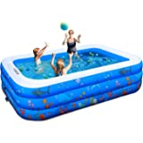 """Inflatable Pool,100"""" X71"""" X22"""" Inflatable Swimming Pool, FUNAVO Family Swimming Pool for Kids, Baby, Toddler, Adults, Blow Up"""