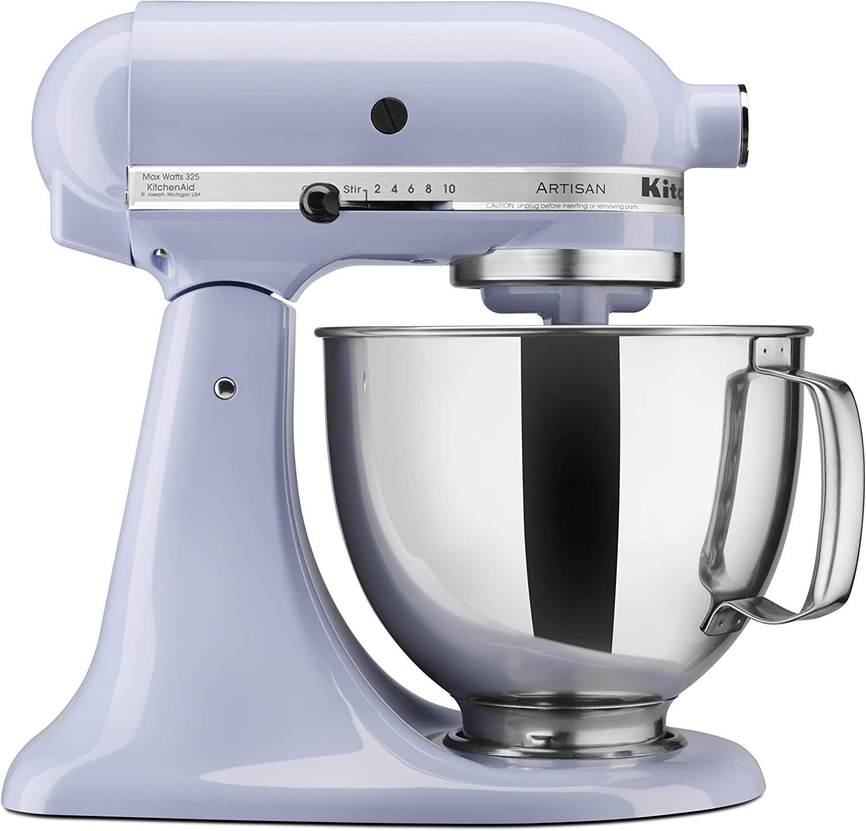 Kitchenaid Ksm150pslr Artisan Series 5 Qt Stand Mixer With Pouring Shield Lavender Cream Amazon Co Uk Home Kitchen
