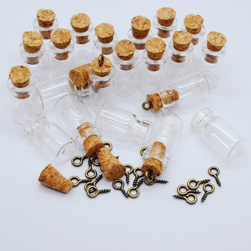 CTKcom 50pcs 0.5ml-Extra Mini Tiny Clear Glass Jars Bottles with Cork Stoppers, Glass Bottles for Decoration, Arts & Crafts, Projects, Party Favors
