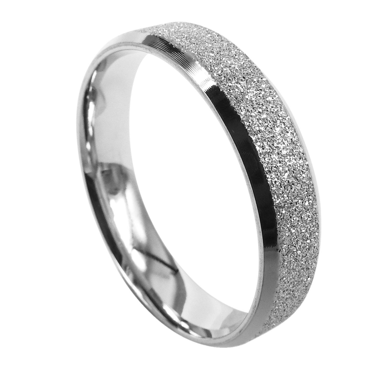 Everstone Women Wedding Band Titanium Ring Dome Anniversary Engagement Ring Unisex Ring 5mm Size 3.5-16.5