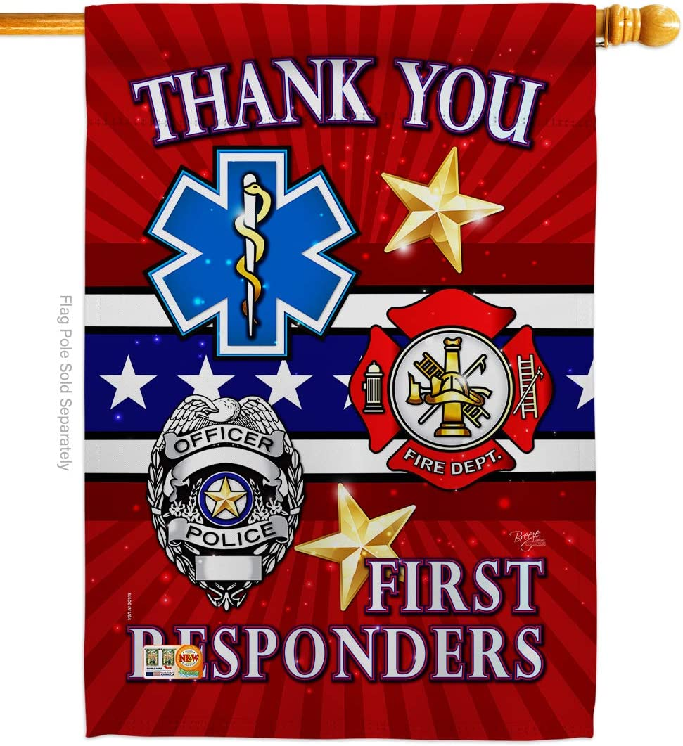 First Responders House Flag - Armed Forces Service All Branches Support Honor United State American Military Veteran Official - Banner Small Garden Yard Gift Double-Sided Made in USA 28 X 40
