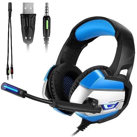 ATUTEN Auriculares Gaming - Onikuma K5 3.5mm Sobre Oreja Auriculares Estéreo con Micrófonoo, LED